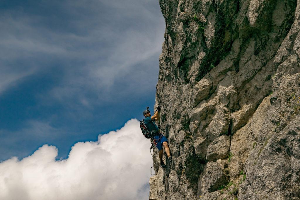 schwierige Variante im 3.Teil vom Klettersteig Stripsenkopf